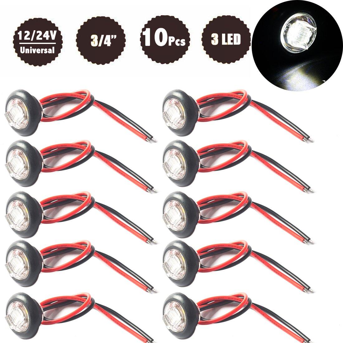 WildAuto LED Feux De Gabarit Avant Arrière côté marqueur indicateurs Feux De Côté 3/4 Pouce Feux De Dégagement, 10V-30V Universel Pour Remorques, Moto, Camions (Rouge 10 pcs) NAT-0736R