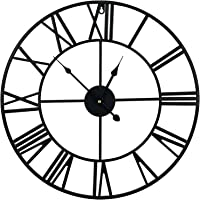 BMARLF Wall Clock 20 inch Vintage Creative Handmade Pure Iron Art Black Wall Clock,Silent Noiseless Movement,Roman…