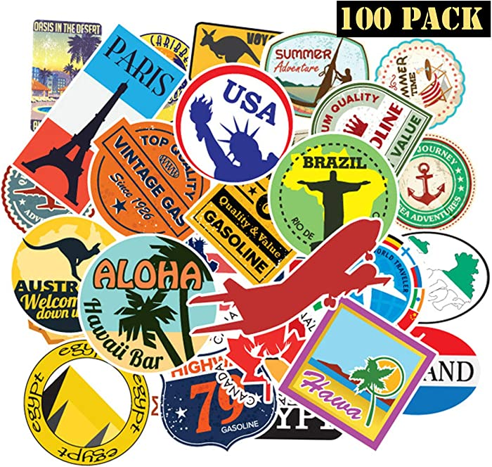 EHOPE 100 Pcs Travel Map Laptop Stickers World Famous Tourism Country & Regions Waterproof Stickers - Travel Map National Flag, for Luggage, Skateboard, Laptop, Suitcase, Book Covers(Travel Map-100P)
