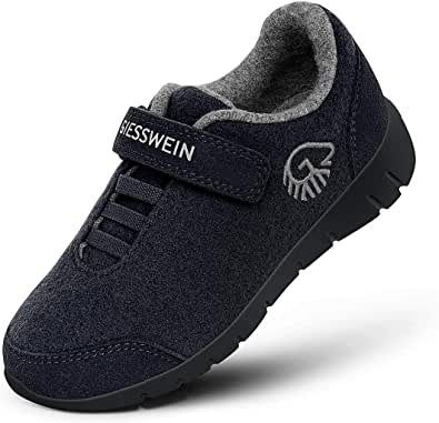 GIESSWEIN Merino Runners Kids – Zapatos de lana merino para niños y niñas, ligeros, con cierre de velcro