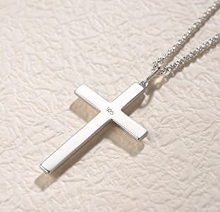 Large 925 Sterling Silver Crucifix Cross Necklace 16 18 20 22 Inches