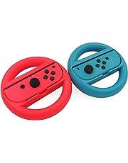 KEESIN Joy-Con Lenkrad Kompatibel mit Nintendo Switch Controller 2 Packung Remote Dock Wheel Zubehör (Rot und Blau)