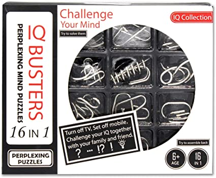 Shopaholic 16 Challenging Metal Puzzles for Kids Age 6+ (Set of 16 Puzzle)