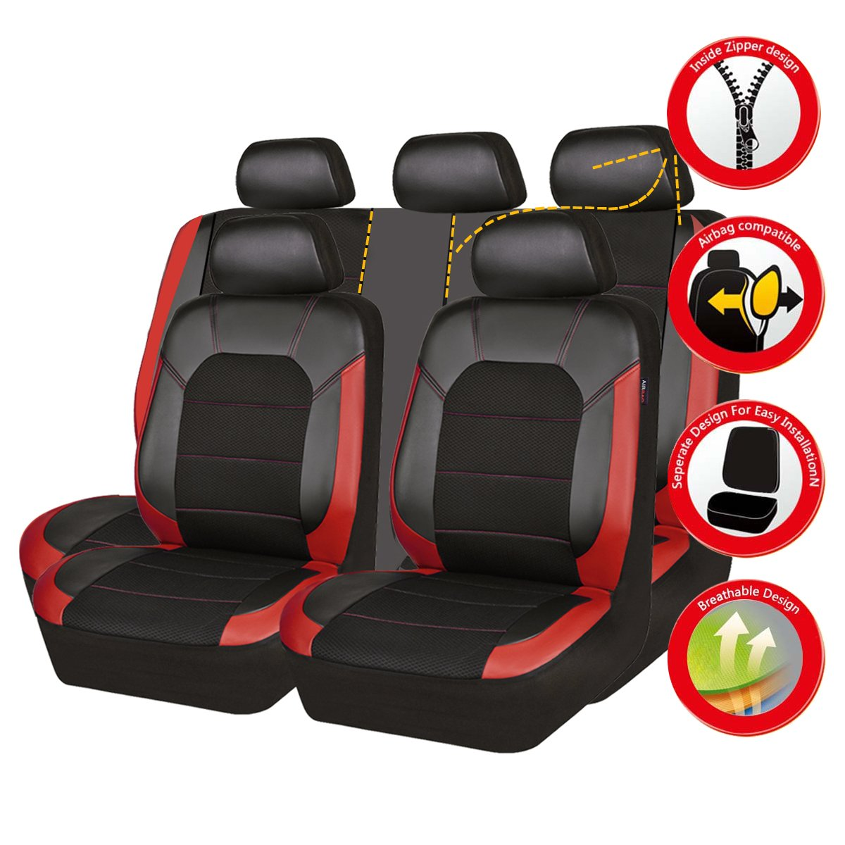 Full seat covers, Black and blue color Trunkcs,Suvs perfect fit for Sedans New Arrival- Car Pass leather and Mesh Universal Car Seat Covers,Airbag Compatible
