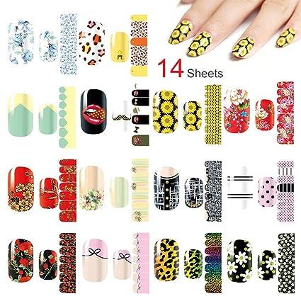 Globaldream 14 hojas pegatinas de arte de uñas suministros ...