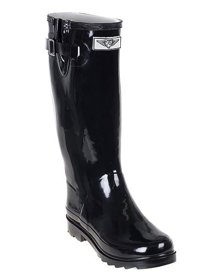 Rain Boots Women Waterproof Rainboots-Solid Garden Collection (Black)