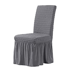 CHUN YI Stretchy Universal Easy Fitted Dining Chair Cover Slipcovers with Skirt, Removable Washable Anti-Dirty Furniture Protector for Kids Pets Home Ceremony Banquet Wedding Party (2pcs, Gray)