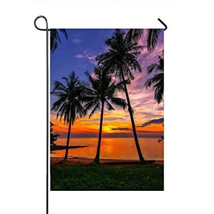 handstomeb custom ocean garden flag sunset tropical beach palm tree home outdoor garden flag house - Ocean Garden