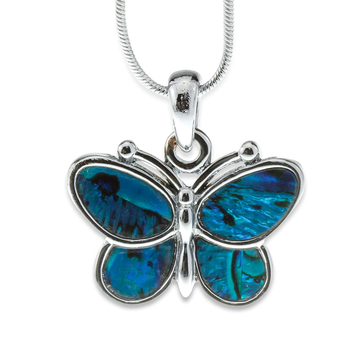 necklace sterling pendant shell long products paua silver abalone butterfly inlay