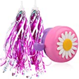U-LIAN Kids Purple Streamers and Bike Bell for Girls-1 Pack Flower Bicycle Bell with 2 Pack Handlebar Streamers Scooter…