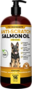 PetHonesty Anti-Scratch Salmon Oil - Omega-3 for Dogs - Pet Liquid Food Supplement - EPA + DHA Fatty Acids Reduce Shedding & Itching - Supports Joints, Brain & Heart Health