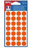 APLI Sachet de 168 étiquettes Gommettes de signalisation Rondes 15 mm Orange