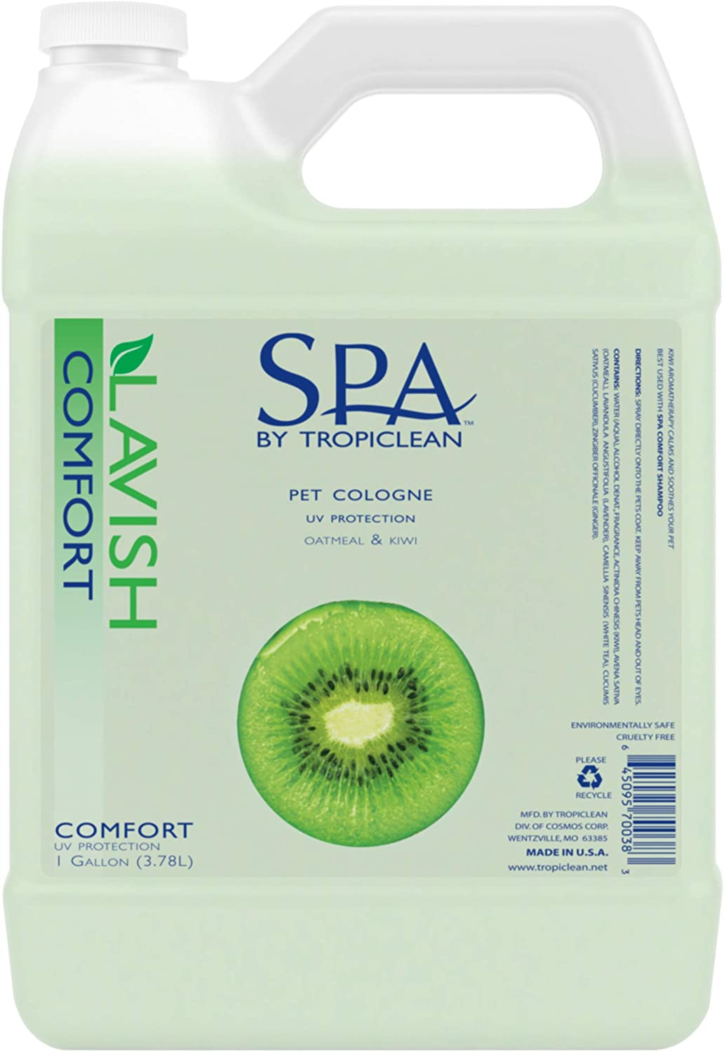 SPA by TropiClean Lavish Comfort Cologne Spray for Pets, 1 gal - Fresh Kiwi Scent - Ready to Use - Made in USA - Deodorizing -Conditioning - UV Protection