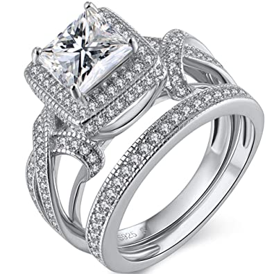 His & Hers Halo Princess Cut Real 925 Sterling Engagement Ring Wedding Band Set Jewelry & Watches Diamond & Gemstone Engagement & Wedding Ring Sets