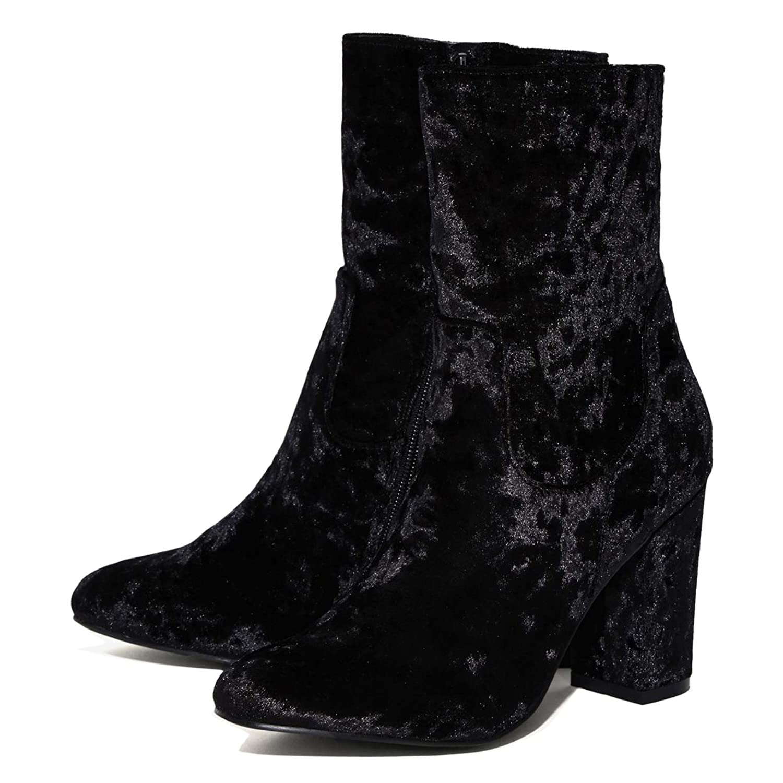 Damen Spitze Zehen High-Heels Blockabsatz Samt Halbschaft Stiefeletten  Reißverschluss: Amazon.de: Schuhe & Handtaschen