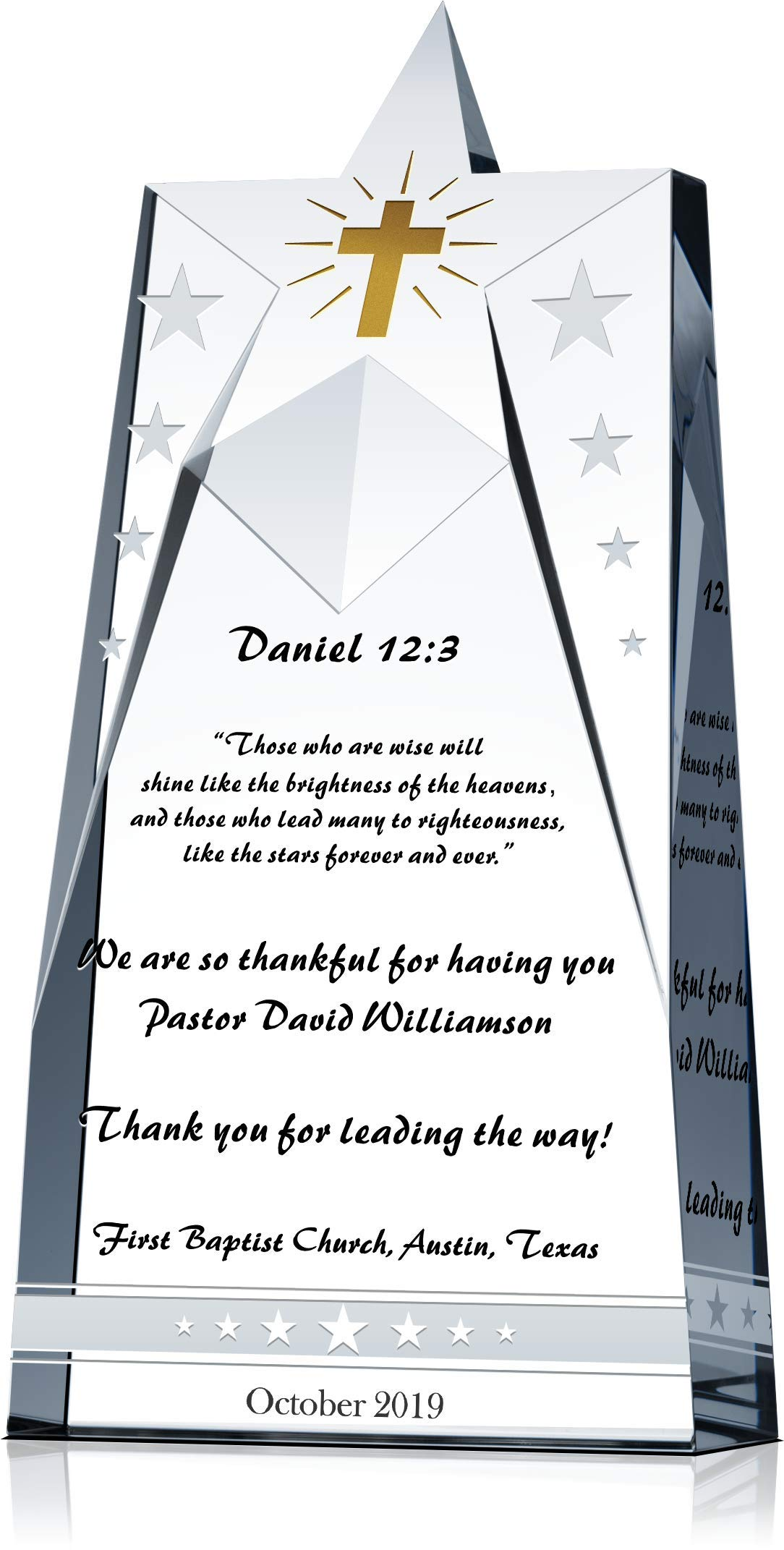 Personalized Crystal Shinning Star Pastor Appreciation Gift Plaque, Customized with Pastor & Church Name, Unique Gift for Pastor/Clergy Appreciation Month or Pastor Appreciation Day (L - 10'') by Crystal Central