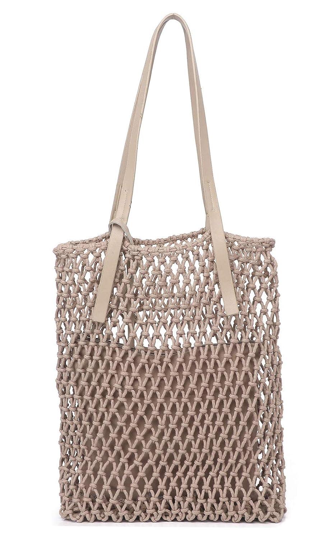 Borsa da spiaggia a maglia cava intrecciata in corda intrecciata di cotone per donne ilishop Borsa di paglia