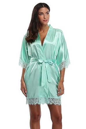 The Bund Fashionable Women s Short Satin Kimono Robe-Sexy Lace Trim  Aquamarine S 216c9e2cf