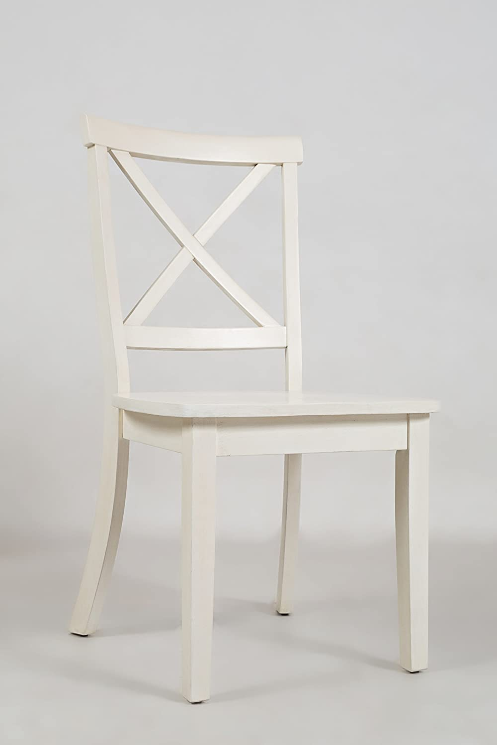 Benzara BM183805 Wooden Dining Chair with X Cross Back Design, Set of Two, White