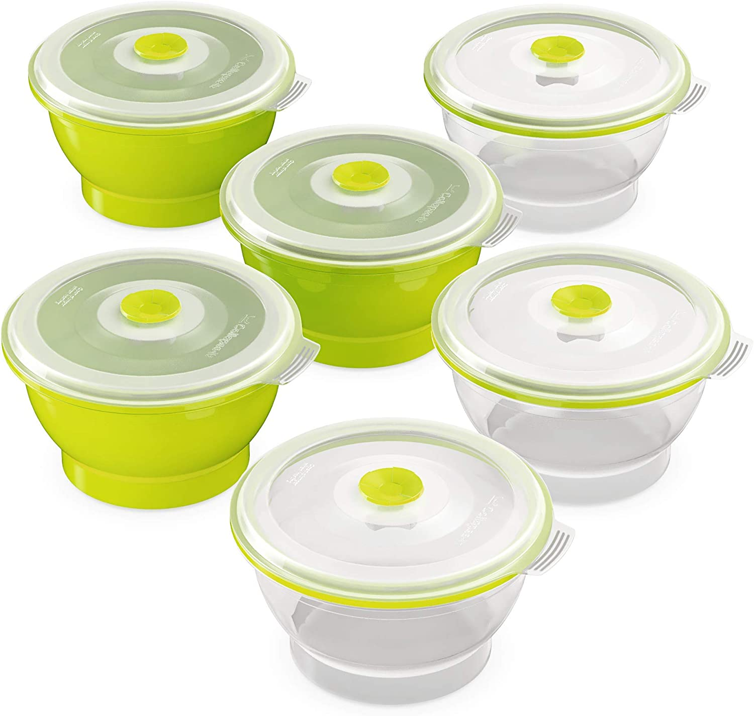 Collapse-it Silicone Food Storage Containers - BPA Free Airtight Silicone Lids Collapsible Lunch Box Containers - Oven, Microwave, Freezer Safe (Green (6) 1-Cup Set)