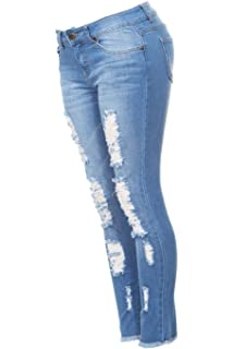 1cd08f7660a8 Ripped Distressed Patched Skinny Stretch Jeans for Women Bottom Cuff ...