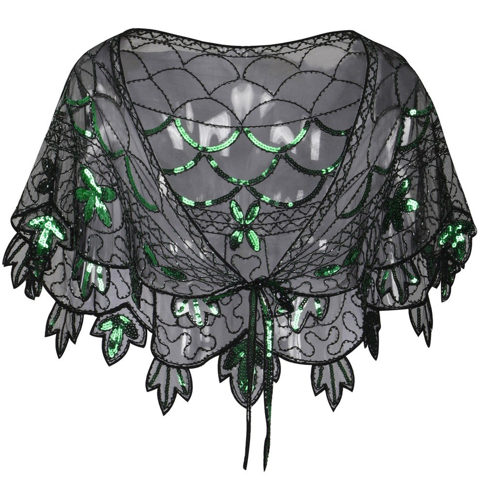 Green Kayamiya Women's Evening Shawl Beaded Sequin Deco Wedding Wraps