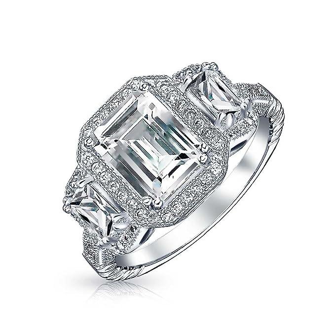 Dani by Daniel K Designer 3 CTW 5 Emerald Cut CZ Stone Band Silver Ring Size 6