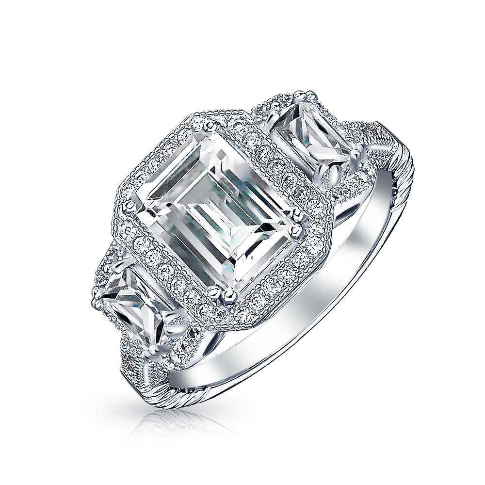 3 Stone Emerald Cut Pave CZ Deco Style .925 Silver Engagement Ring