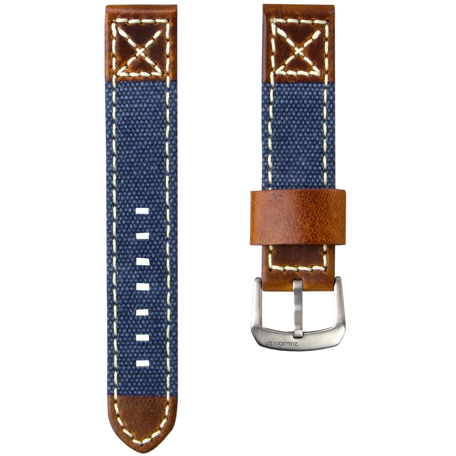 ZULUDIVER Canvas & Italian Leather Watch Strap, Navy Blue & Vintage Brown, 20mm