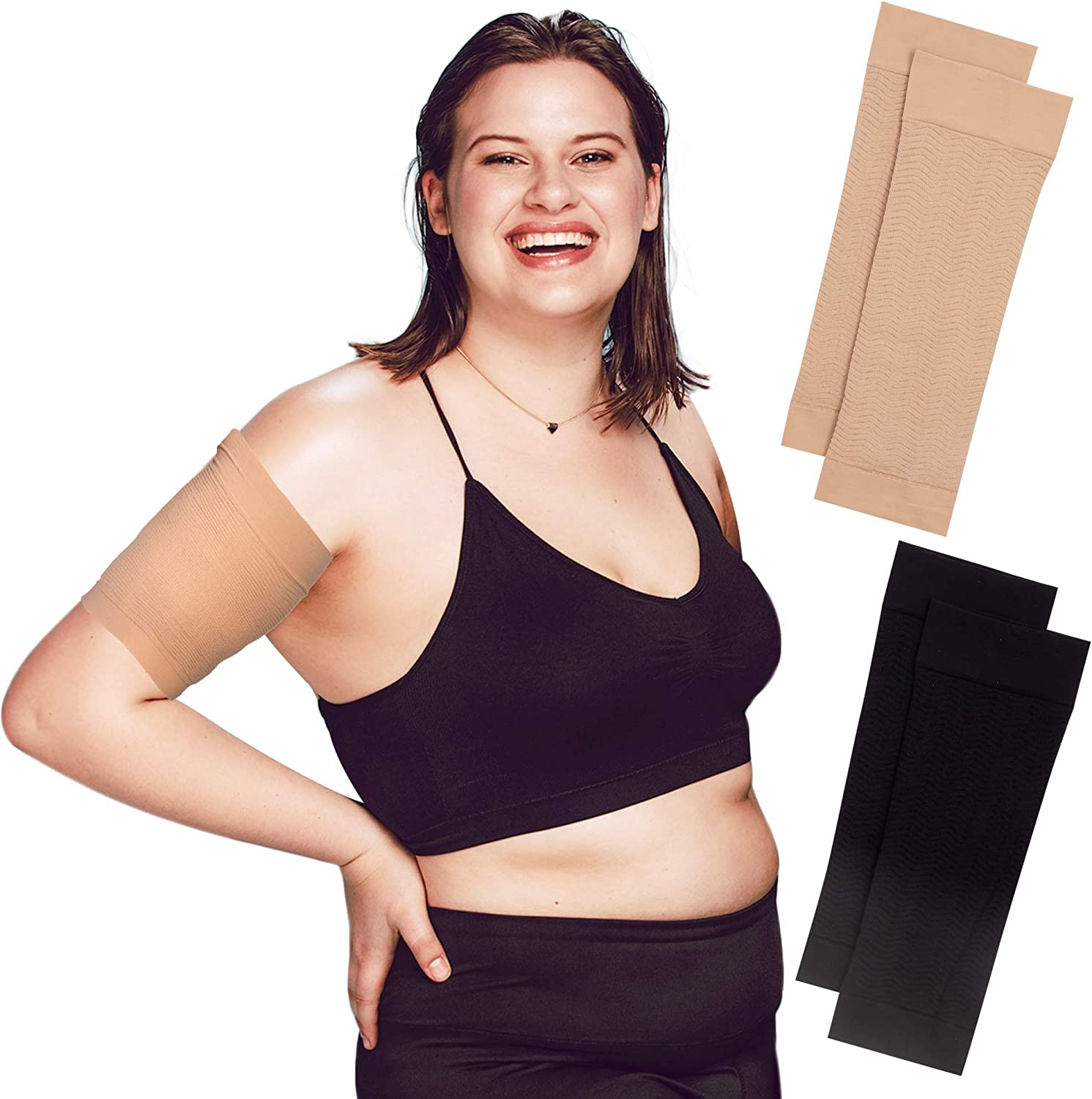 2 Pairs Black 2 Pairs Arm Shapers for Women Plus Size Slimming Arm Wraps for Flabby Arms Weight Loss