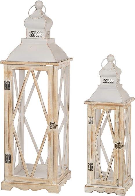 Amazon Com Glitzhome Farmhouse White Wood Metal Lanterns Decorative Hanging Candle Lanterns Set Of 2 Home Kitchen