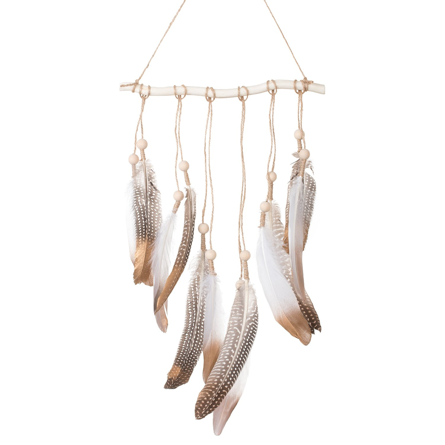 Ling's moment Bohemian Feather Wall Hanging Decorations Boho Bedroom Decor Wedding Gift Baby/Birdal Shower Decor by Ling's moment
