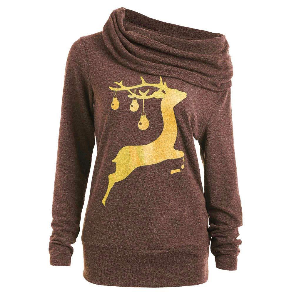 Heiß er Weihnachten Top Heligen Damen Frauen Weihnachten Blusen Oberteile Deer Rollkragen Top Langarm Casual Tagesfreizeit Pullover Sweatshirt Herbst Winter