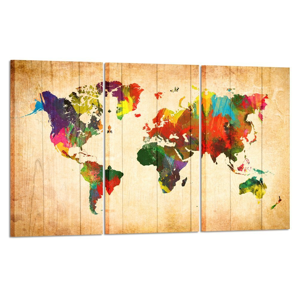 Amazon.com: Kreative Arts - Large Canvas Wall Art Prints World Map ...