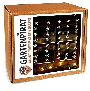 Lichtervorhang 40 Sterne LED warmweiß beleuchtet für Fenster Weihnachten