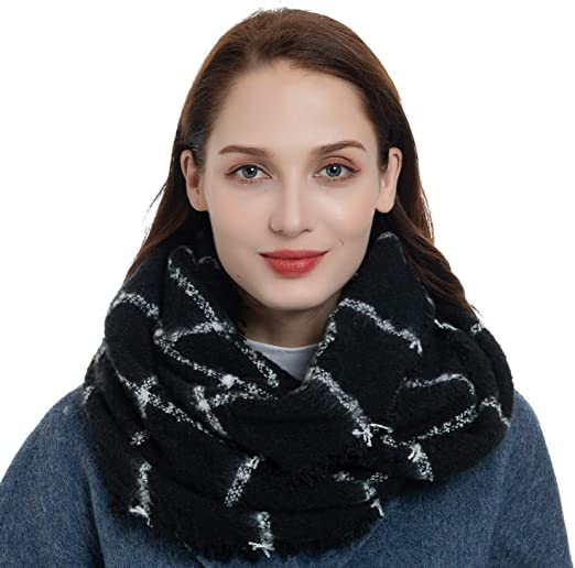 US SELLER New Womens 2 Infinity Scarves Fashion Loop Scarf Blue Print Cowl Wrap