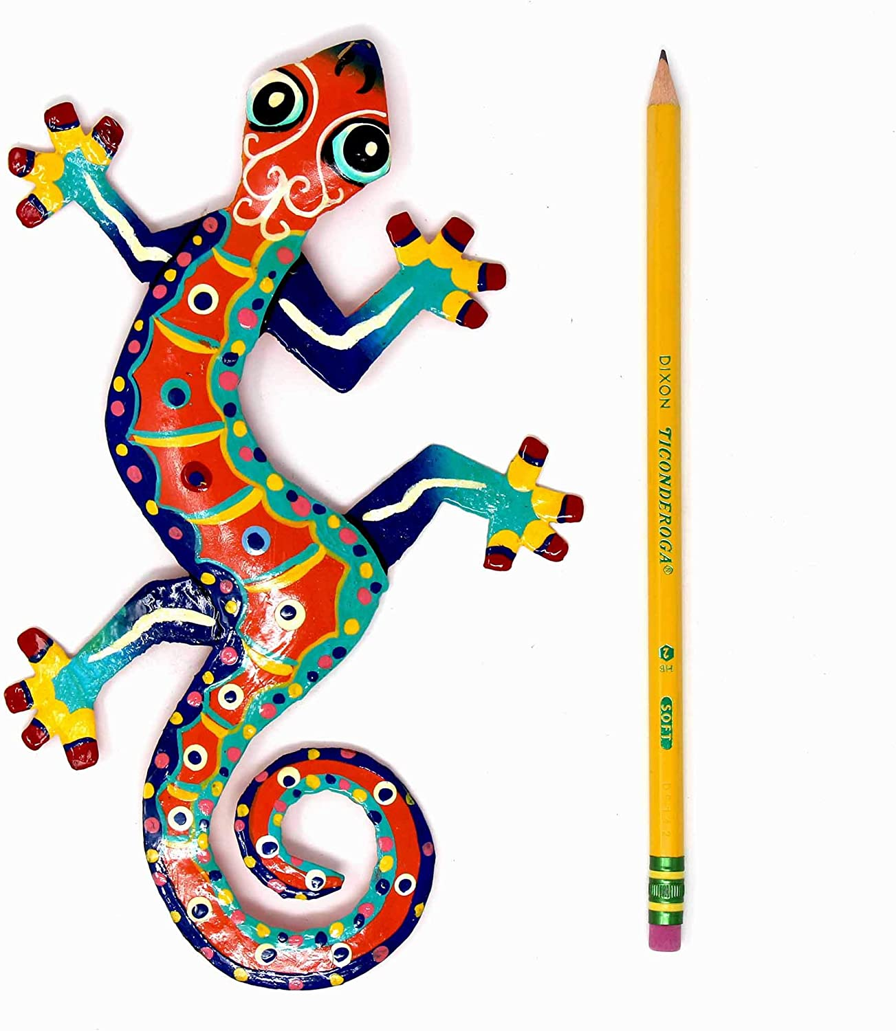 Pink with Dark Dots Global Crafts 8 Painted Gecko Recycled Haitian Metal Wall Art Multi-Colored