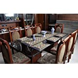 cf162a65b36 Lalhaveli Dining Table Runner With Dinner Table Place Mats - Blue