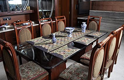 Lalhaveli Dining Table Runner With Dinner Table Place Mats - Blue