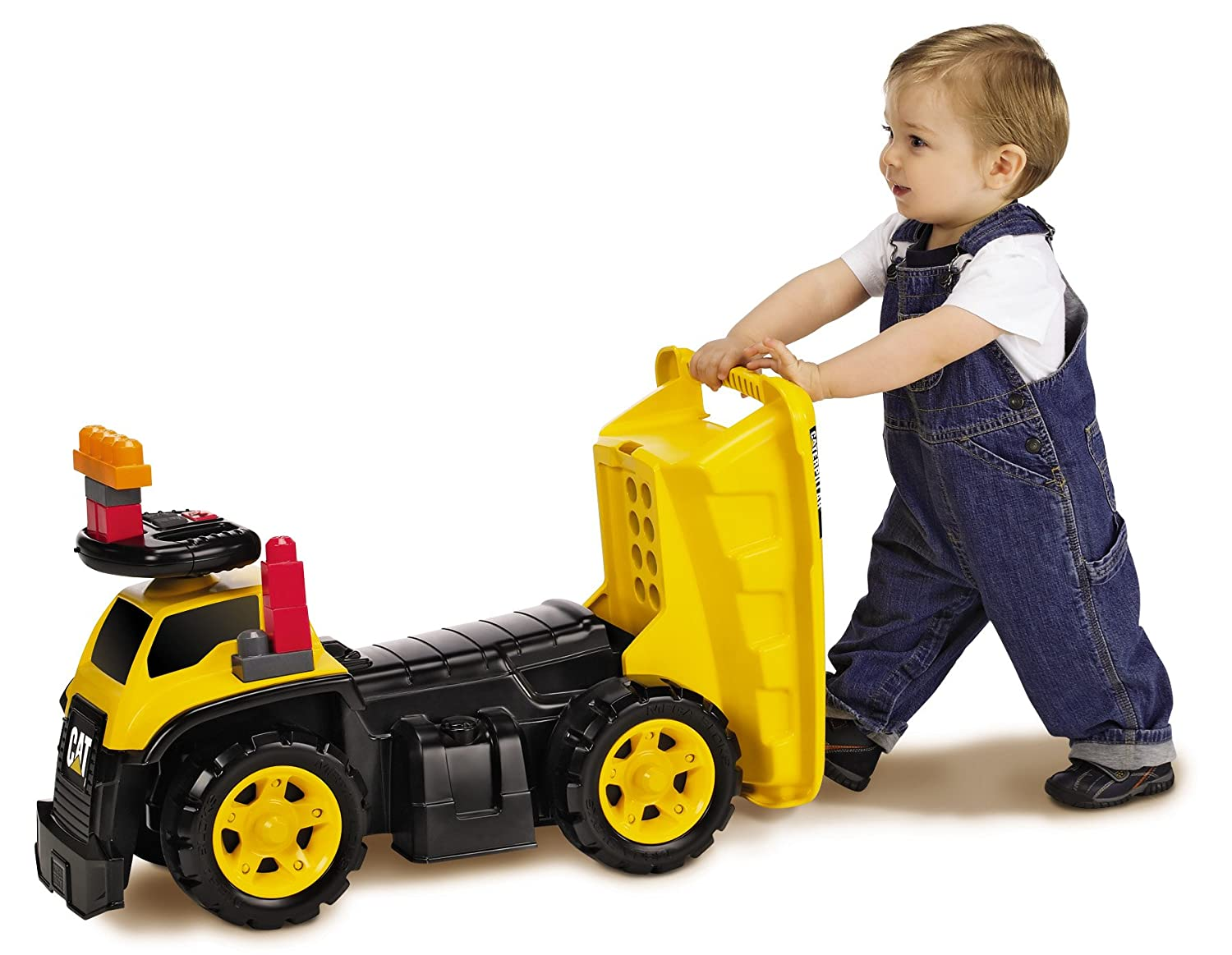amazon com mega bloks cat 3 in 1 ride on dump truck toys