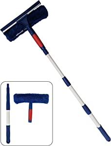 Professional Window Cleaner Squeegee with Extension Pole Up to 3 Ft Long | 2-in-1 Squeegee and Scrubber Washer Tool | Window Washing Cleaning Kit For Indoor Outdoor, Glass, Car, Home or Commercial Use