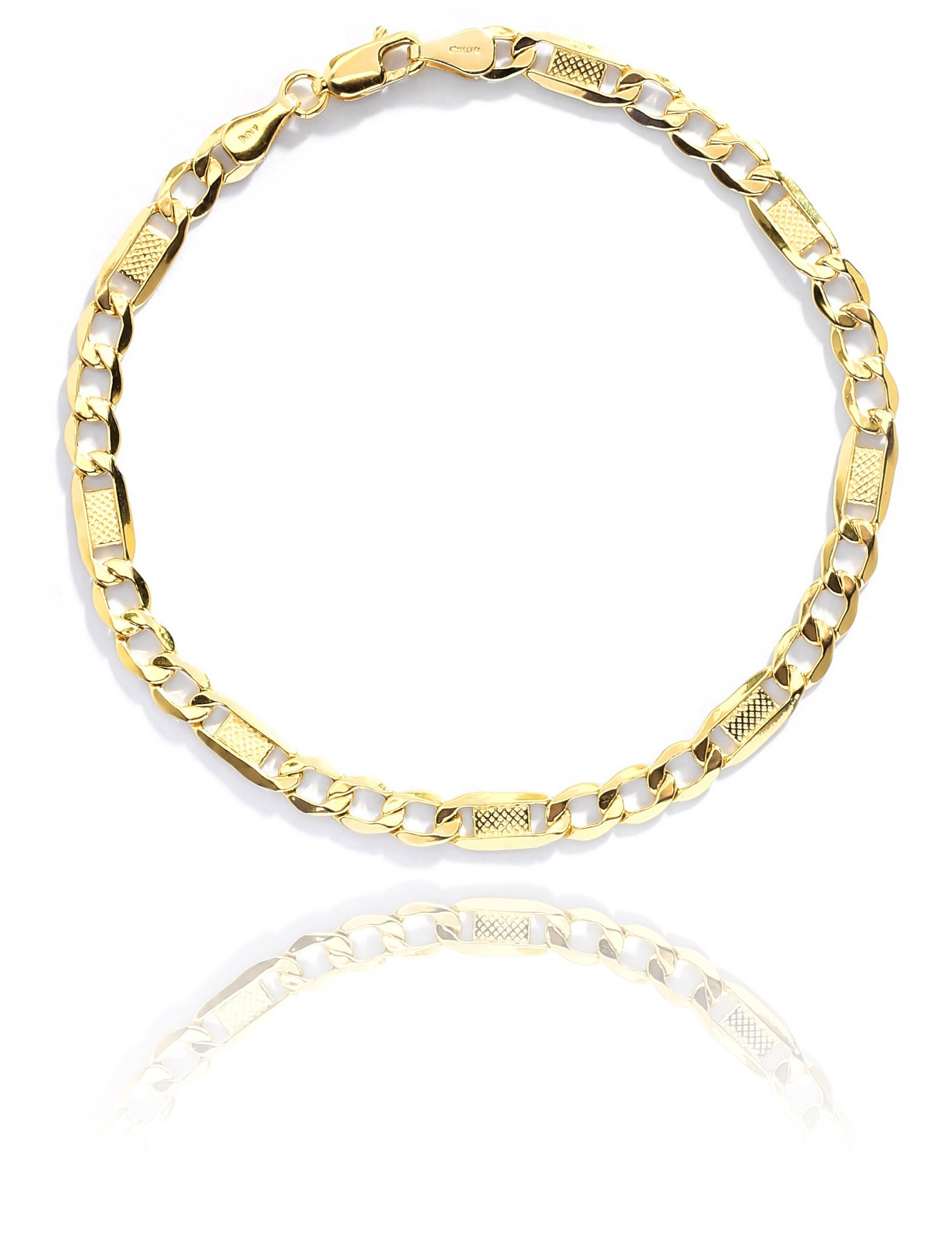 7 Inch 10k Yellow Gold Hollow Bar Figaro Chain Bracelet or Women and Men, 5mm