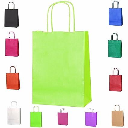 12 trenzado asas papel parte bolsas de regalo Kraft bolsas ...