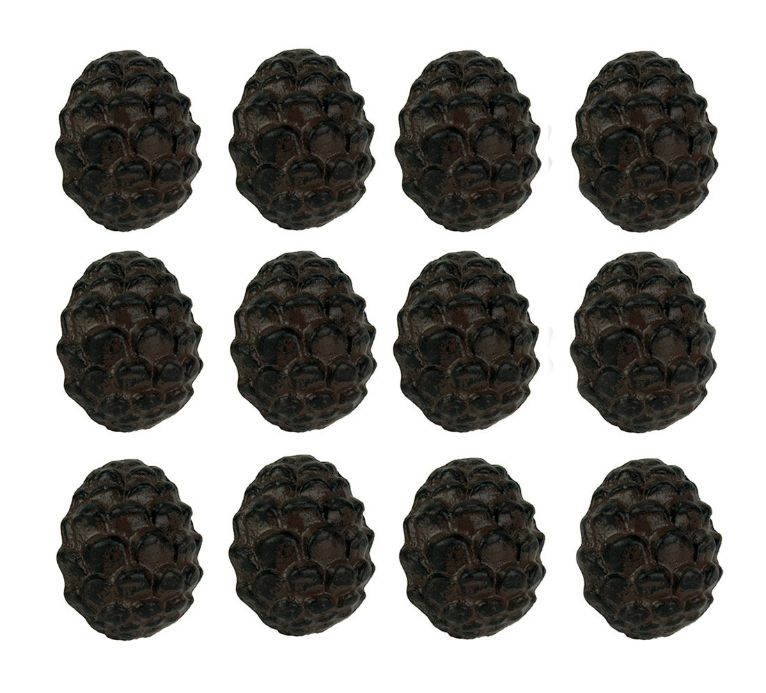 Zeckos Cast Iron Drawer Pulls Rustic Brown Woodland Pine Cone 12 Piece Cast Iron Drawer Pull Set 2.5 X 2 X 1.5 Inches Brown DE LEON COLLECTIONS