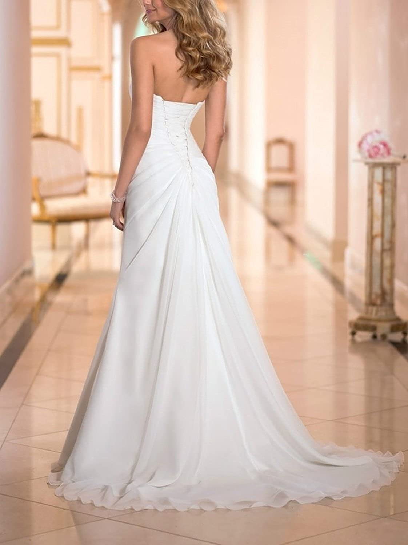 Singmo Sweetheart Train Long Pleat Wedding Dress 2 Ivory