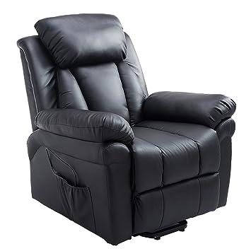 Homcom Fauteuil de Relaxation électrique Fauteuil releveur inclinable avec  Repose-Pied Ajustable Simili Cuir Noir 95413baa88f7