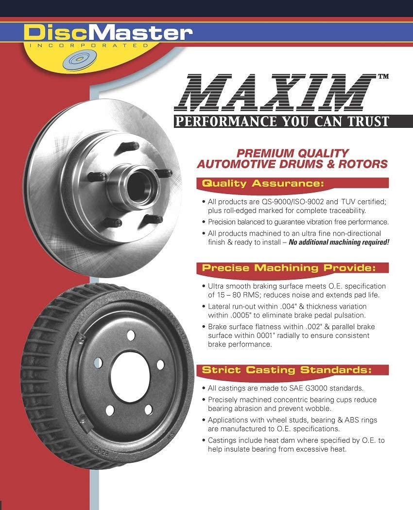 Club Econoline E-350 Rear Premium Quiet technology Brake Drums 8995 Fits: E-350 Econoline Wagon