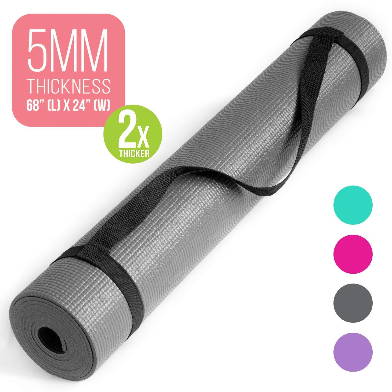Amazon.com : Nicole Miller Yoga Workout Mat, 5MM Thick Yoga ...