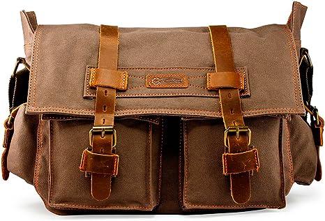 "DGY 14/"" Laptop Bag Canvas Leather Messenger Bag for Men School Bag Briefcase"