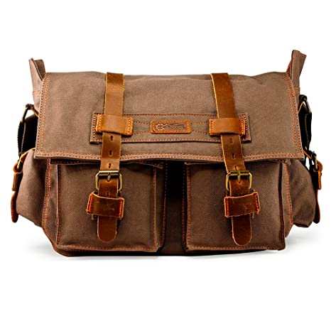 b95a20d69205 GEARONIC GEARONIC Mens Canvas Leather Messenger Bag for 14 quot  15 quot   17 quot  Laptop Satchel